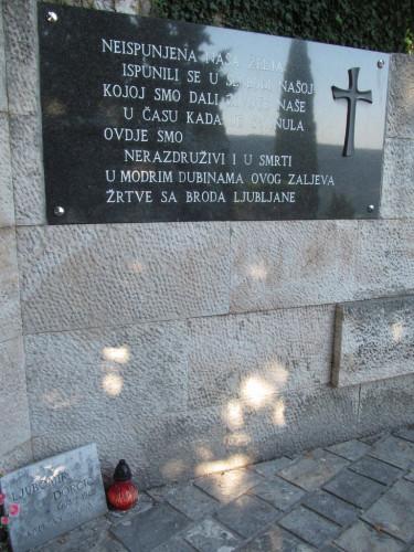 "Memorial site to the victims of sunken steamboat ""Ljubljana"""